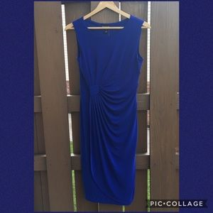 NWOT ENFOCUS Royal Blue gathered waist dress